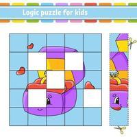 logikpussel för barn med ringlåda. utbildning utveckla kalkylblad. lärande spel för barn. aktivitetssida. enkel platt isolerad vektorillustration i söt tecknad stil. vektor