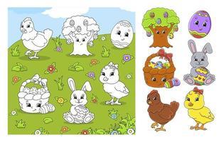 målarbok djur påsk vektor