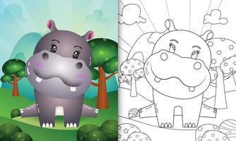 målarbok för barn med en söt flodhästkaraktärsillustration vektor