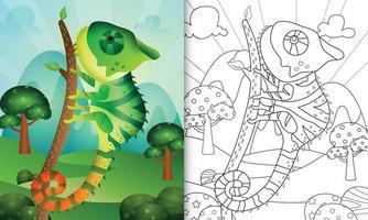 målarbok för barn med en söt kameleonteckenillustration vektor