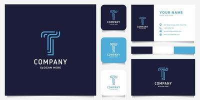 einfaches und minimalistisches Strichgrafikbuchstaben-t-Logo mit Visitenkartenschablone vektor