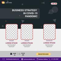 webinar sociala medier postmall. banner marknadsföring. affärsstrategi i covid-19 pandemi vektor