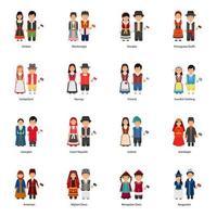män och kvinnor avatarer som bär traditionella klänningar runt om i världen vektor