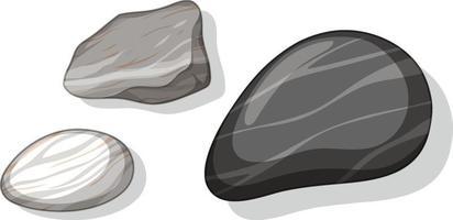 Satz von verschiedenen Steinen lokalisiert auf weißem Hintergrund vektor