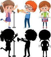 Satz verschiedene Kinder, die Musikinstrumente mit Silhouette spielen vektor