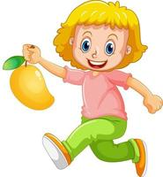 glückliche Mädchenkarikaturfigur, die eine Mango hält vektor