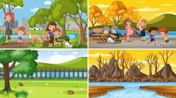 uppsättning olika natur scener tecknad stil