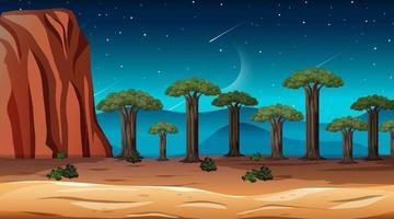 afrikanische Savannenwaldlandschaftsszene bei Nacht vektor