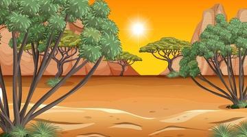 afrikansk savannaskogslandskapsscen vid solnedgången vektor