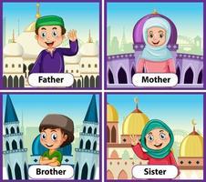 pedagogiskt engelska ordkort av muslimska familjemedlemmar