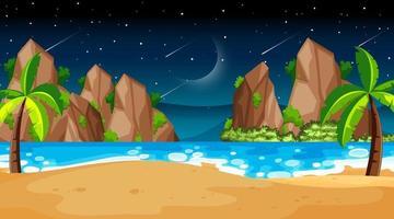 tropische Strandlandschaftsszene bei Nacht vektor