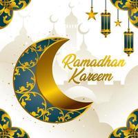 ramadan kareem med halvmåne-koncept