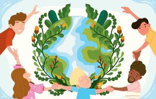 Feiern Sie das Konzept des Tages der Erde vektor