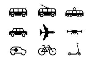 kollektivtrafik svart ikonuppsättning isolerad på vit bakgrund vektor