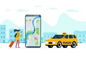 Taxi Bestellservice App Konzept. Frau hält Smartphone mit Route Geotag GPS Standort Pin Ankunftsadresse auf Stadtplan und gelbem Taxi. Online erhalten Taxi Anwendung flache Vektor Eps Illustration
