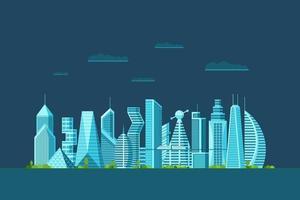 detaljerad natt framtida stad med olika arkitektur byggnader skyskrapor lägenheter. futuristisk cyberpunk grafisk stadsbild med flera våningar. vektor fastigheter urban konstruktion illustration