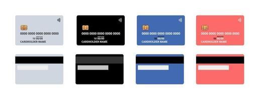 bankplastkredit- eller debetkontaktfritt smarta betalkort fram- och baksidor med emv-chip och magnetband. tom designmall mockup. vektor isolerad illustration uppsättning