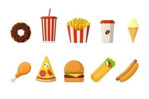 snabbmat lunch eller frukostmåltid. ostburgare, pommes frites, stekt krispigt kycklingben, glaserad munk, mjuk läsk, kaffekopp, glass, korv, pizza och doner-kebab. vektor illustration
