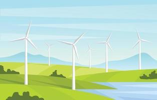 Windmühle grüne Technologie vektor