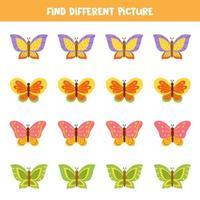 Finde einen Schmetterling, der sich von anderen unterscheidet. Arbeitsblatt für Kinder. vektor