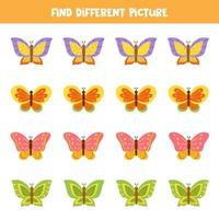 hitta fjäril som skiljer sig från andra. kalkylblad för barn. vektor