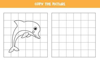 kopiera bilden av söt kawaiidelfin. pedagogiskt spel för barn. handstil. vektor