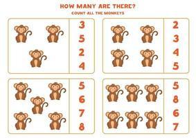 Mathe-Spiel mit niedlichen Affen zählen. vektor