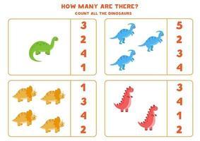 Zählspiel für Kinder. Mathe-Spiel mit Cartoon-Dinosauriern. vektor