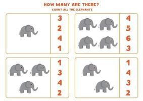 räknar matte spel med söta tecknade elefanter. vektor