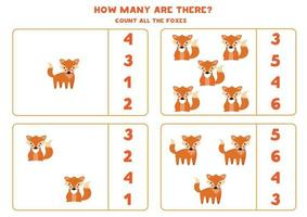 räknar matematik spel med söta tecknade rävar. vektor
