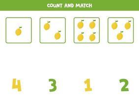 Zählen Mathe-Spiel mit niedlichen Cartoon-Zitronen. vektor