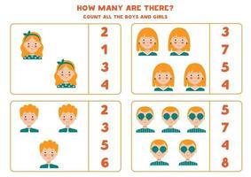 räkna spel med tecknade flickor och pojkar. vektor