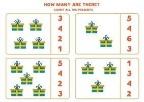 Zählmathematikspiel mit bunten Karikaturweihnachtsgeschenken. vektor