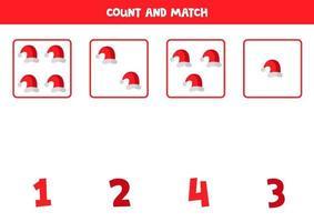 räkna spel med tecknade jul mössor. matematikspel. vektor