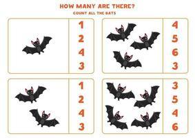 räkna spel med svarta fladdermöss. matematik kalkylblad för barn. vektor