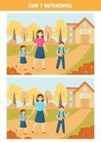 pedagogiskt logiskt spel för barn. hitta 7 skillnader. tillbaka till skolan. vektor