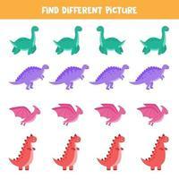 hitta olika dinosaurier i varje rad. logiskt spel för barn. vektor