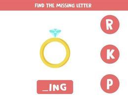 Finde den fehlenden Buchstaben mit dem Valentinsring. Arbeitsblatt zur Rechtschreibung. vektor