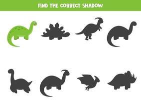 Finde den richtigen Schatten des niedlichen Cartoon-Brontosaurus. vektor