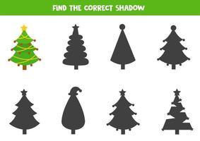 Finde den richtigen Schatten des Weihnachtstannenbaums. vektor