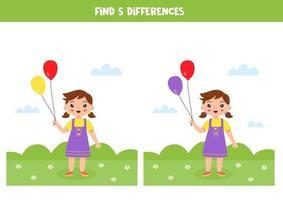 pedagogiskt logiskt spel för barn. hitta 5 skillnader. flicka med ballonger. vektor