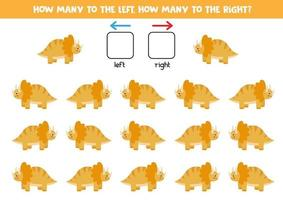 vänster eller höger med söt dinosaurie. logiskt kalkylblad för förskolebarn. vektor