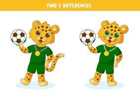 pedagogiskt logiskt spel för barn. hitta 5 skillnader. leopardinnehav boll. vektor