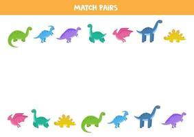 hitta par till varje dinosaurie. pedagogiskt logiskt spel för barn. vektor