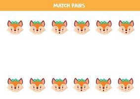 matchande par söta rävar. pedagogiskt arbetsblad. vektor