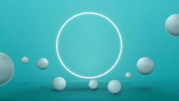 leere blaue abstrakte Szene mit realistischen springenden Kugeln und Neonring. 3D-Renderillustration mit blauer abstrakter Szene mit neonweißem Ring vektor