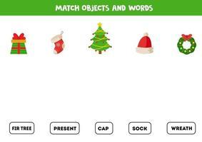 matchande spel. anslut ord med bilder. logiskt spel med jultema. vektor