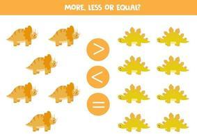 mehr, weniger, gleich mit niedlichen Dinosauriern. Mathe-Spiel. vektor