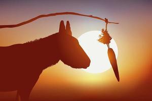 eine Karotte, um einen Esel voranzutreiben vektor