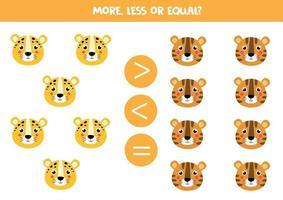 mehr, weniger, gleich mit niedlichen Cartoon-Tiger und Leopard. vektor